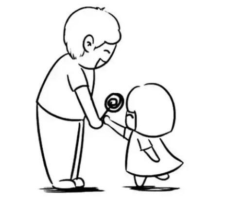 幼儿园父亲节简笔画 爸爸和宝宝一起的简笔画图片素材