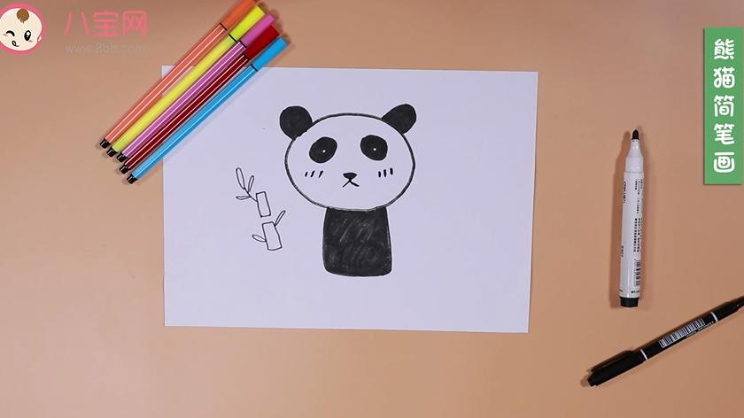 熊猫简笔画视频  教你一分钟画熊猫