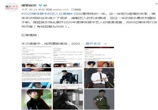 搜狐2020年艺人红黑榜单完整版 搜狐2020年度媒体眼中的艺人黑榜